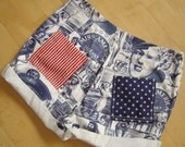 High Waisted Upcycled Cutoff Denim Patriotic Shorts - Women's Size 12-One of a Kind