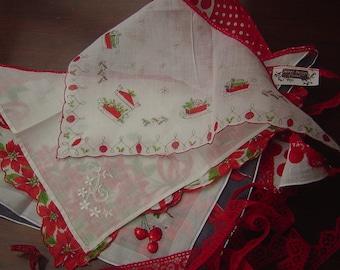 Vintage Christmas Handkerchief Banner/Garland/Swag/Bunting
