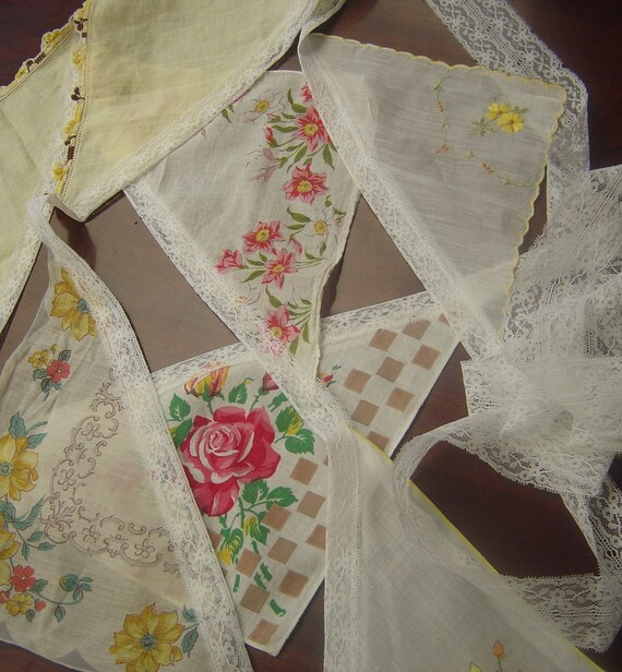 Vintage Handkerchief Bunting/Garland with Lace