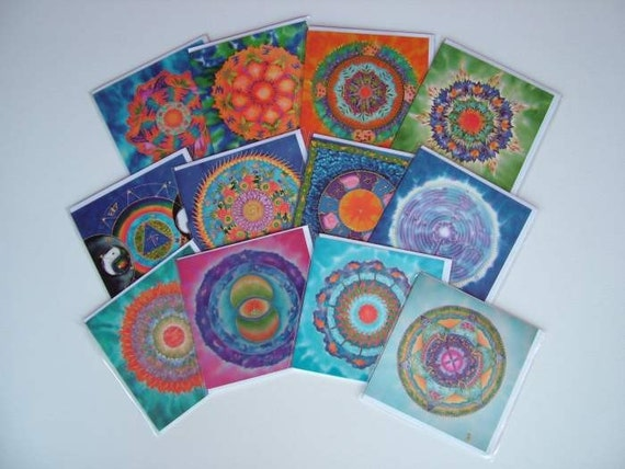 SALE - Set of 12 Mandala Greeting Cards in lithographic print
