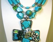 COWGIRL / RODEO QUEEN CHUNKY WESTERN NECKLACE  - CRySTaL BLuEs -