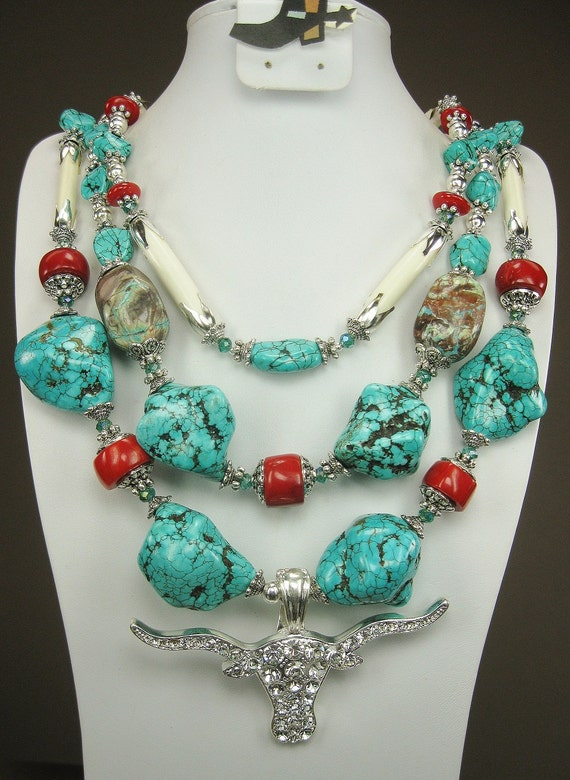 TURQUOISE and BUFFALO Bone / CORAL Chunky Southwestern Necklace with Rhinestone Longhorn Pendant - LoNGHoRN CoWGiRL CHiC
