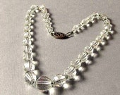 Vintage Faceted Clear Crystal Bead Necklace