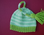 Hand knit hat cotton Infant Pixie Elf  Stocking Cap knot lime multicolor green  - with cord and tassle photo prop.