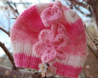Spring Fashion Cherry blossoms 0- 3m hand knitted and crochet cotton baby hat.  Ready to ship from Colorado. Perfect Photo Prop