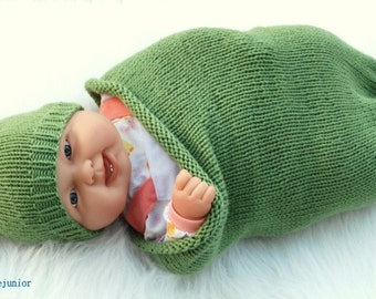 Cotton hand knit Baby Cocoon wrap and hat Newborn to 3 Month  boy or girl Pea in a pod   Great Photo Prop perfect gift from Colorado
