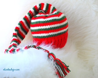 Christmas baby hat Pixie Elf Munchkins Newborn- 3 months or any size. Cord and tassel. Ready to ship from Colorado. Perfect photo prop.