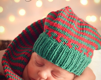 Christmas baby hat knit made of cotton in green red stripes. Newborn to 3 months. Munchkins Pihie  Made in Colorado. Perfect photo prop.