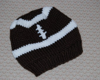 Baby football  hat seamless beanie in brown and white.  Newborn to 3months Photo prop.  Baby shower gift. Made in Colorado.