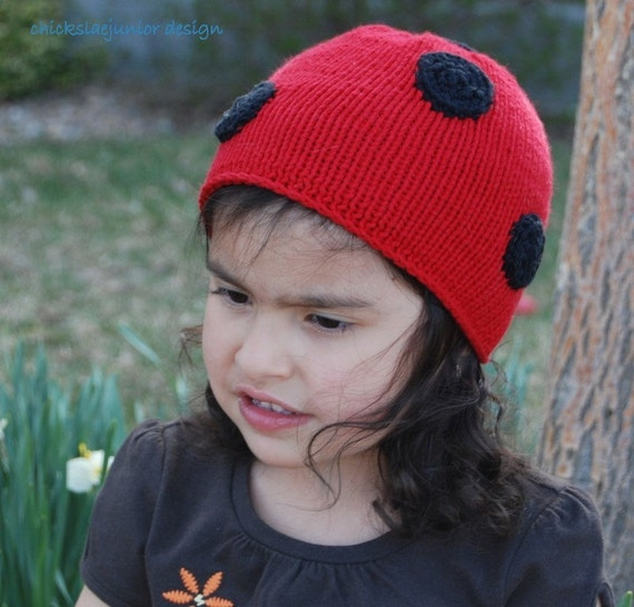 On Sale  Knitted todler hat Cotton Ladybug Polka Dots 1-2 years seamless beanie hat. Ready to ship from Colorado. Perfect Birthday gift