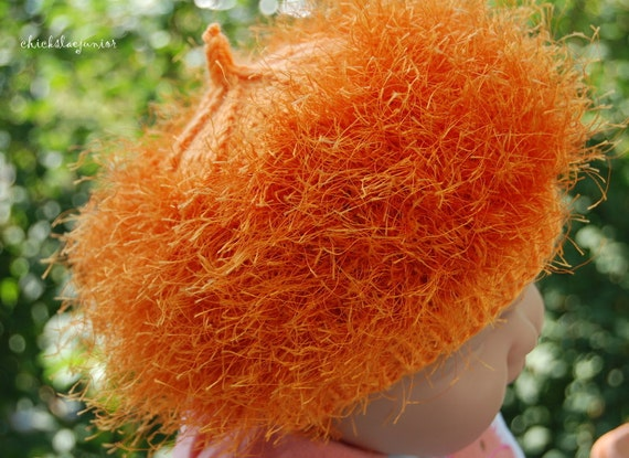 Halloween Pumpkin hat Thanksgiving  pumpkin for 9-12 months made of shiny  fur yarn Photo prop shower gift, Made in Colorado USA.
