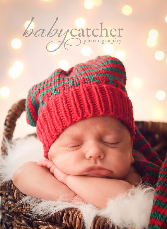 Baby Christmas hat Boy girl knit stocking hat  cotton in red  green strripes Munchkins Pixie  Made in Colorado.  photo prop.