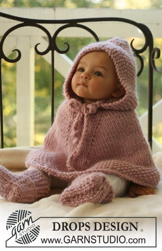 Children clothing Fall  Hand Knit baby poncho and booties with  in pink 3 to 6  m made of wool. Baby Shower Gift Handmade in Colorado USA