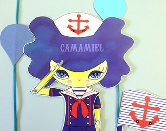 Assembled articulated paper doll sailor Pansy