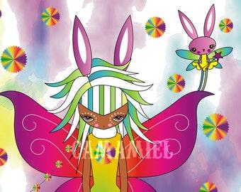 Print 4x6 Zizi and Valeria bunny fairies