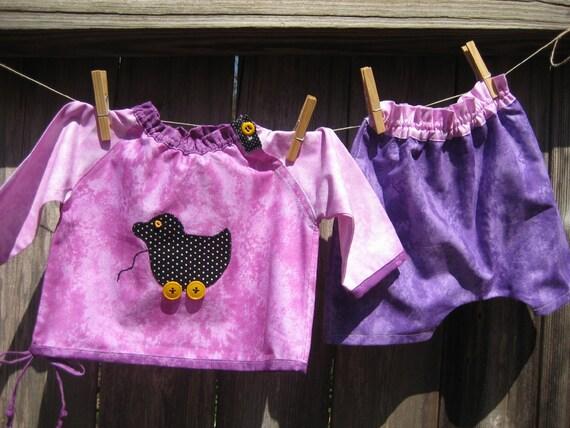 Toddler Tunic Shirt  And Harem Style Pants Set / Pink