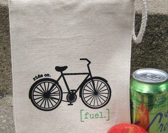 Reusable, Recycled Cotton Lunch Bag - Bike