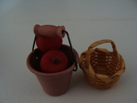 Miniature dollhouse metal pail, wicker basket, 3 wood painted apples with stems SALE ITEM