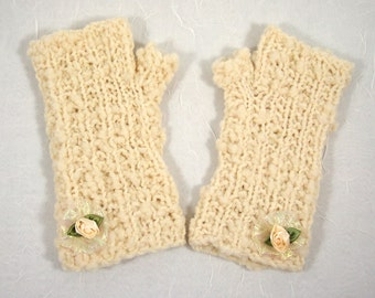 Fingerless Mitts in Ivory Sparkle with Rose Trim