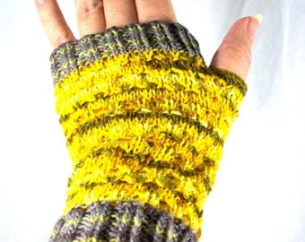 Fingerless Mitts Knit in Multistripe Yellow and Gray OOAK