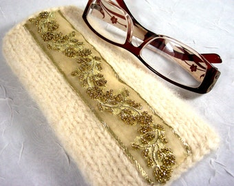 Eyeglass Case in Winter White and Gold Beads Knitted Felt