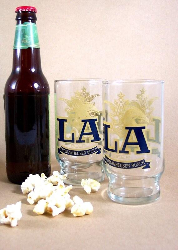 Vintage Beer Glasses LA Anheuser-Busch Toast your favorite football team