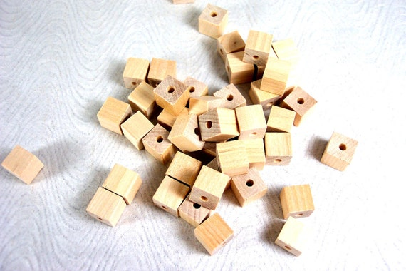 Square Wood Beads Package of 40