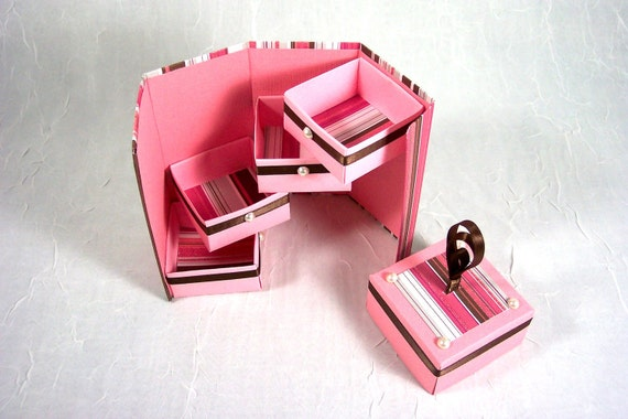 Pink and Chocolate Stripe Bits and Bobs Box