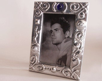 SALE - picture frame for 4 x 6 photo - polished aluminium