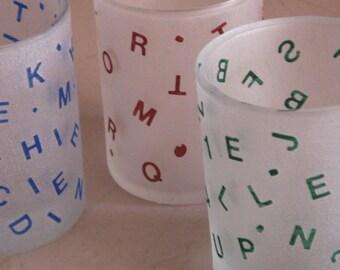 alphabet shot glass - glass enamel and sandblasted