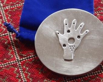 purse mirror - hamsa hand - cast pewter