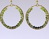 14 Karat Gold Filled Green Tourmaline Hoops