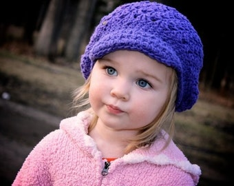 Newsgirl Beanie - Slouchy  and Chic - Purple - Sizes 6 months - 2T