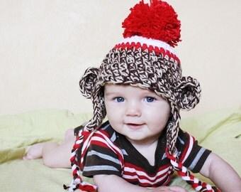 12-24 M - Chunky Sock Monkey Hat