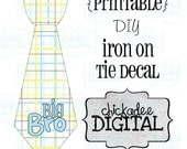 1 Tie Big Brother Plaid Printable DIY Iron On Tie Decal, baby boys, toddler boys, printable tie, Iron on tie for bodysuits and tshirts