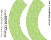 NEW Printable Cupcake Wrappers--TALL Sage Green Damask...designed for use with decorative edged scissors