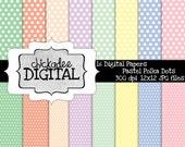 Pastel Polka Dots Digital Papers, polka dot pattern backgrounds, spots digital paper, dots patterned papers in pastel colors