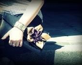 Lovely leather clutch with flower of your chosen colour