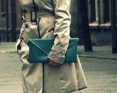 Green crocodile leather envelope clutch