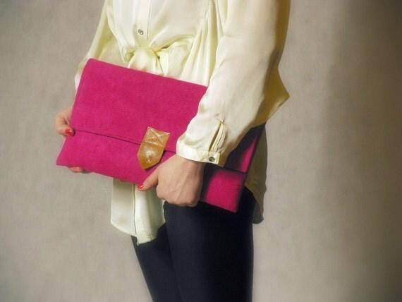 XL hot pink vegan suede clutch