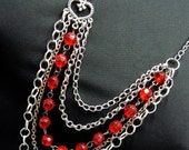 Silver and Red Drape Necklace Multi Strand Necklace