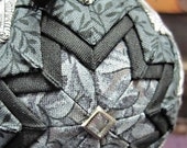 Black Gray and White Quilted Ornament Ball