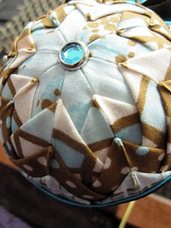 Brown and Blue Christmas Ornament Quilted Ornament Ball
