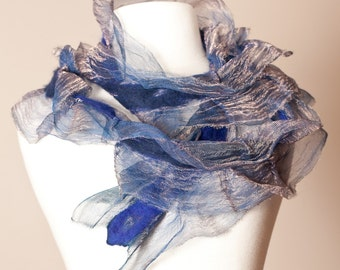 Blue-Gold Nuno Felted Merino and Silk Metallic RUFFLES Scarf - Women's Accessories - Fashion Accessories