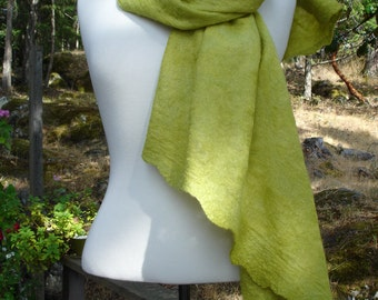 Felted Merino and Silk ELLE Shawl - Women's Fashion - Women's Accessories - Lime Green