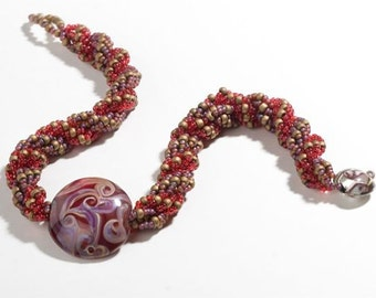 Handmade Necklace Beaded with Red Focal