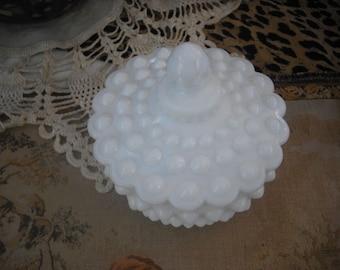 Vintage Hobnail / Milk Glass Hobnail Powder box