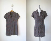 1970s Mini Dress/ 70s/ Checked Floral