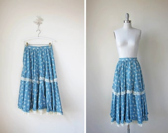 1970s Long Skirt/ Blue Peasant Skirt/ Make Haste