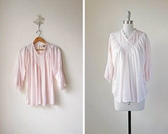 70s Pale Pink Blouse/ 1970s/ Lattice Light